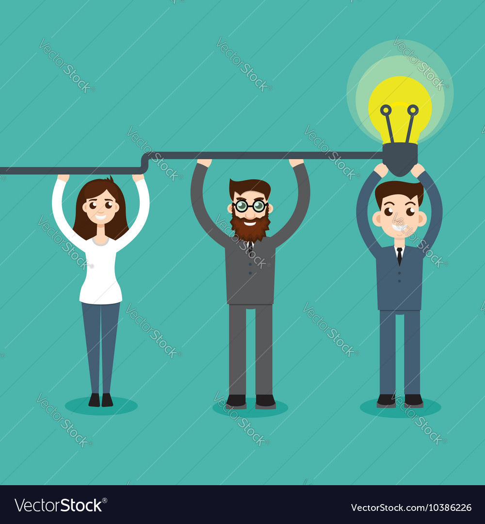 Synergy concept man hold bulb vector