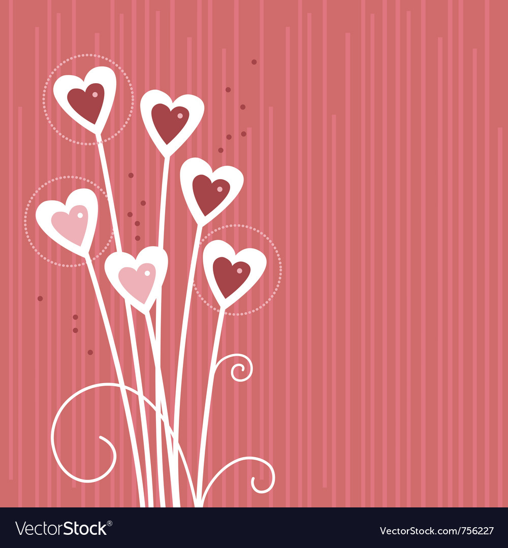 Cartoon background with abstract hearts vector