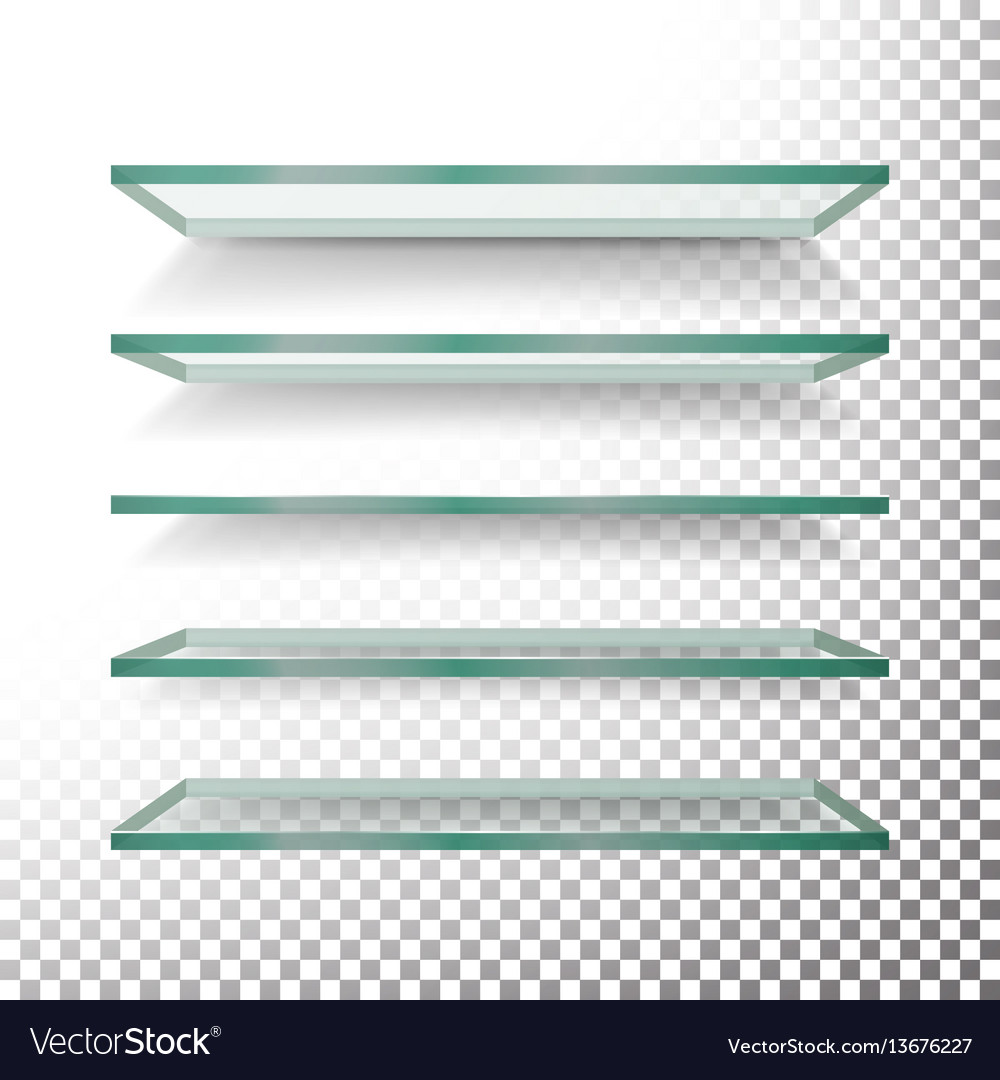 Empty glass shelves template set realistic vector