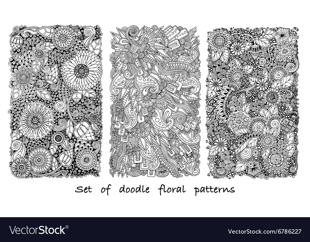 Set of doodle pattern with flowers and paisley vector