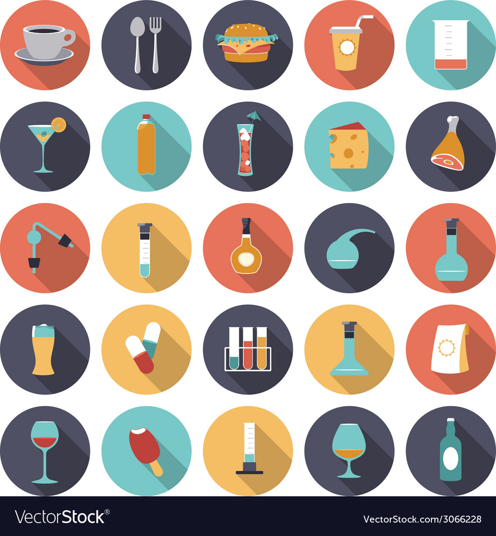 Icons flat colors food vector