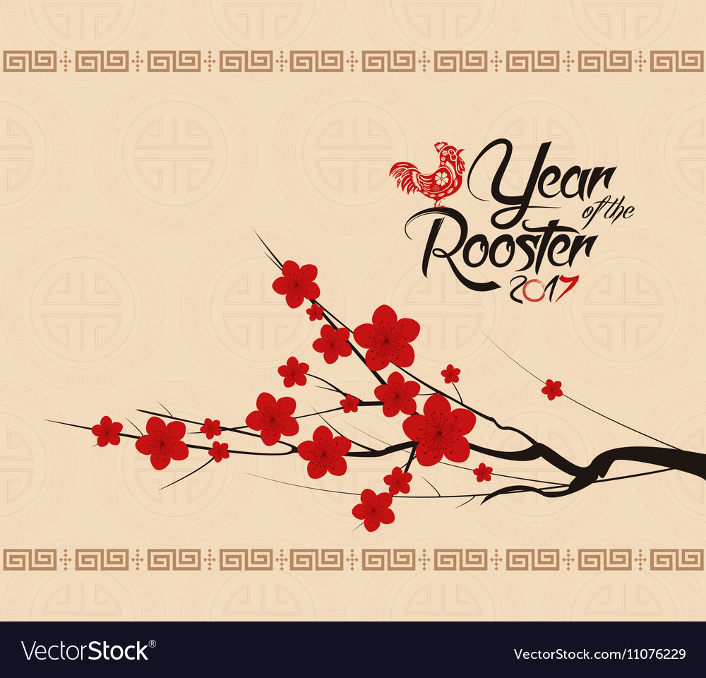 Chinese new year 2017 background with rooster vector