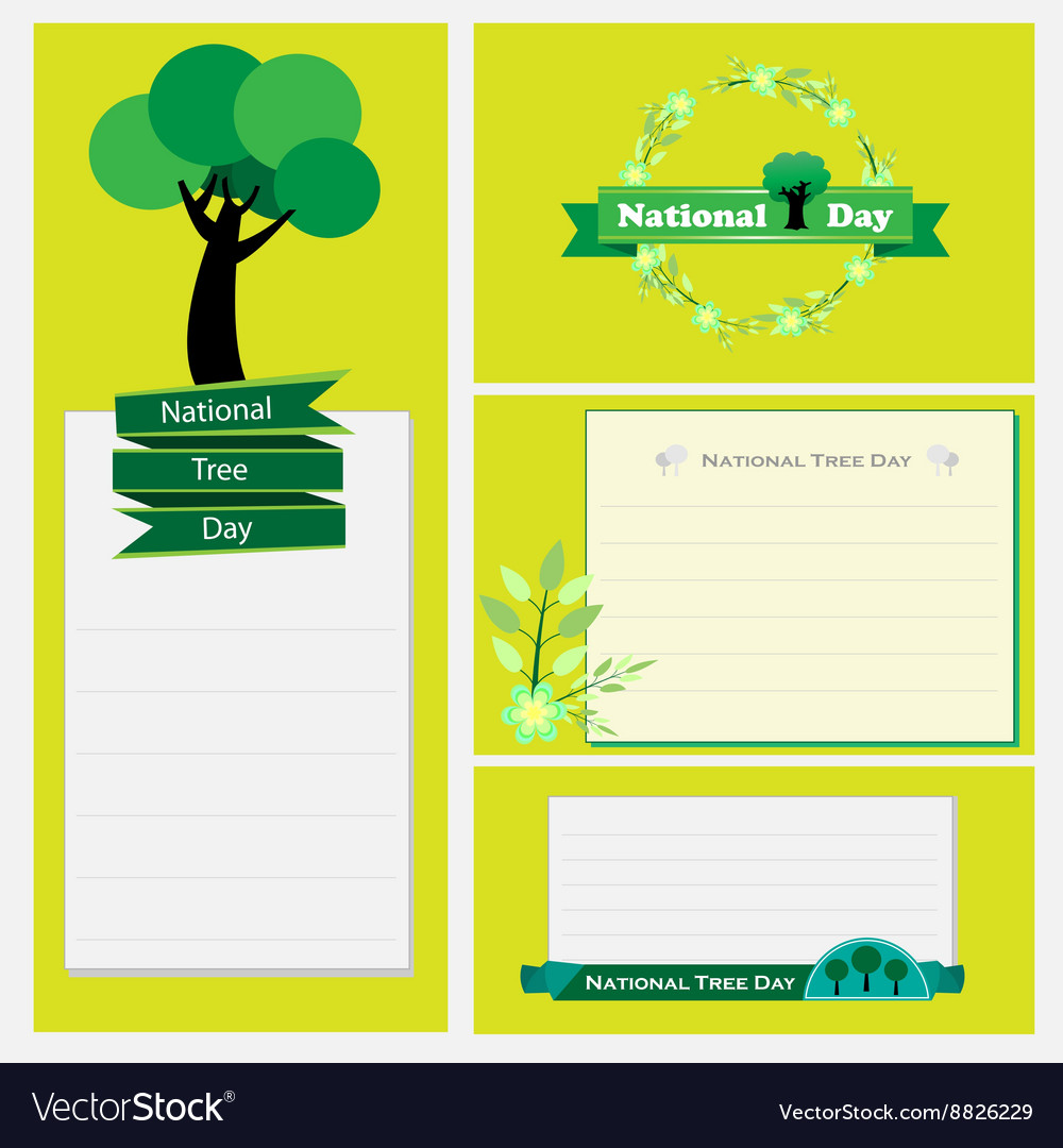 National tree day set of flower labels and cards vector