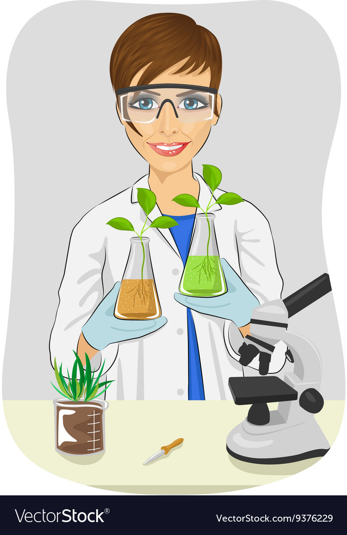 Young woman biologist in white coat holding flasks vector