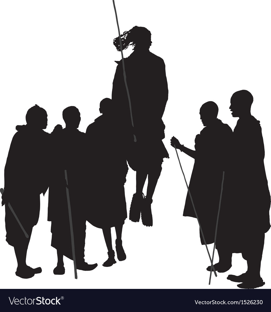 African dancing people silhouette vector
