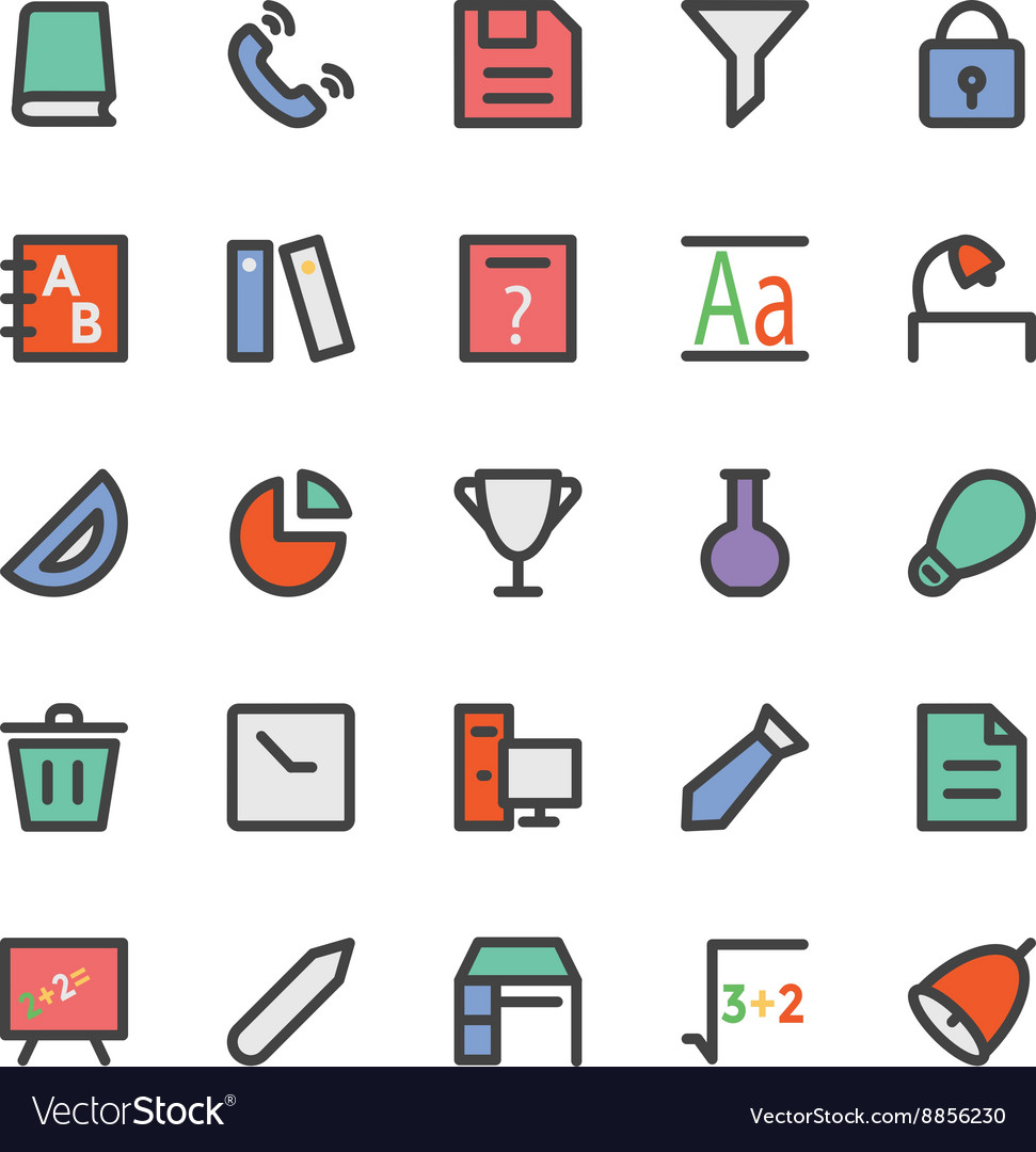 Education black outlined icons 6 vector