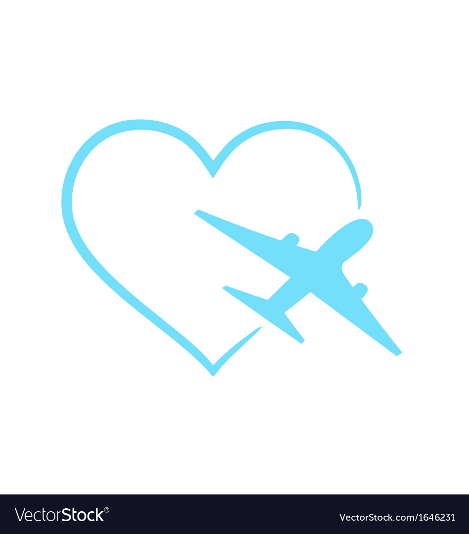 Airplane symbol in shape heart vector