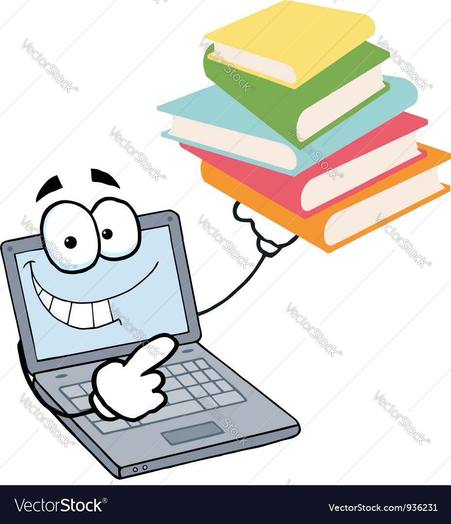Laptop guy holding a stack of books vector