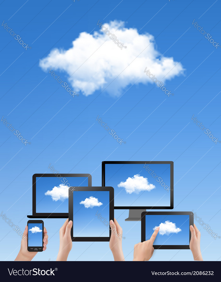 Cloud computing concept hand with blue sky and vector