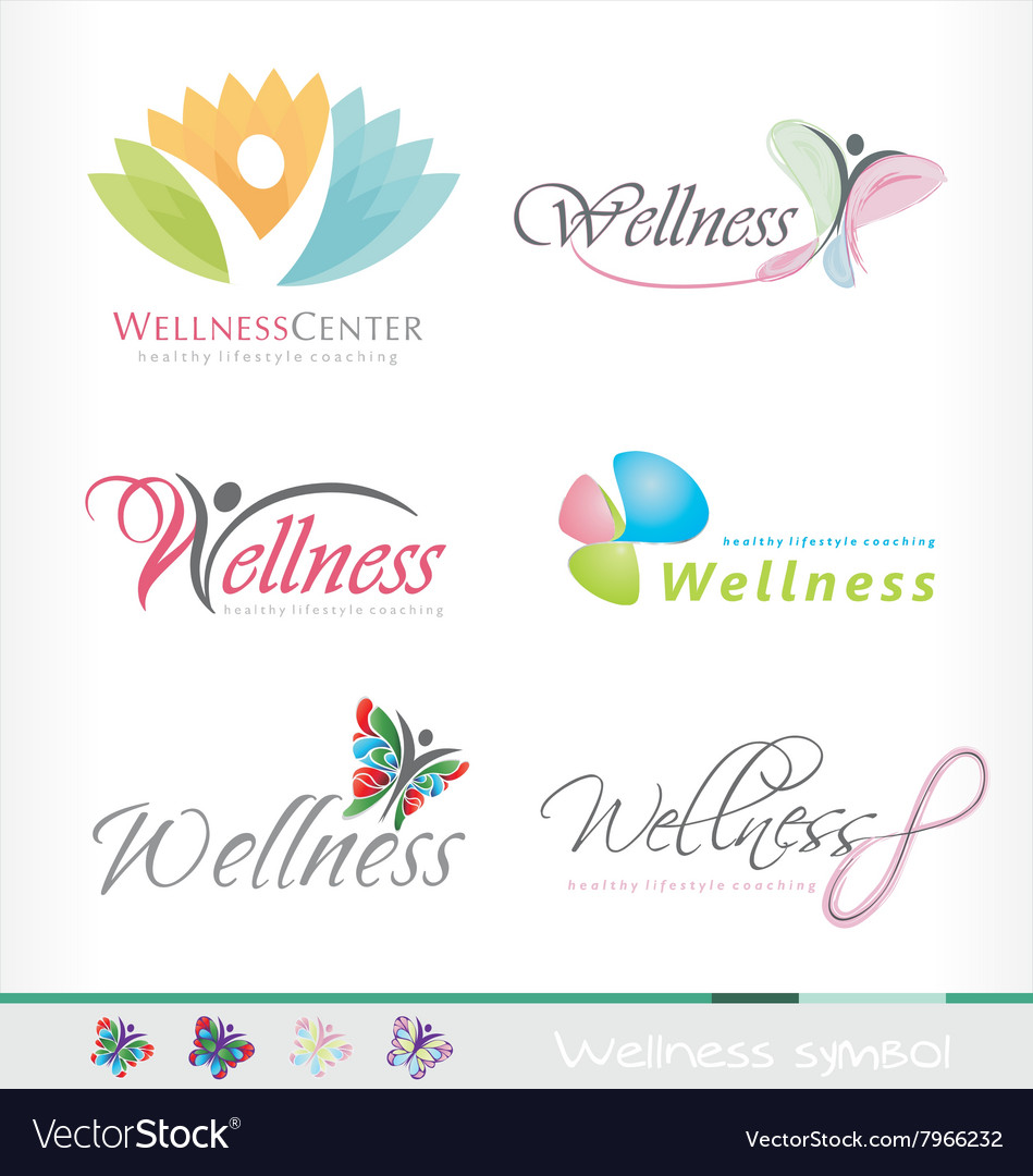 Wellness logo spa symbol healthy style butterfly vector