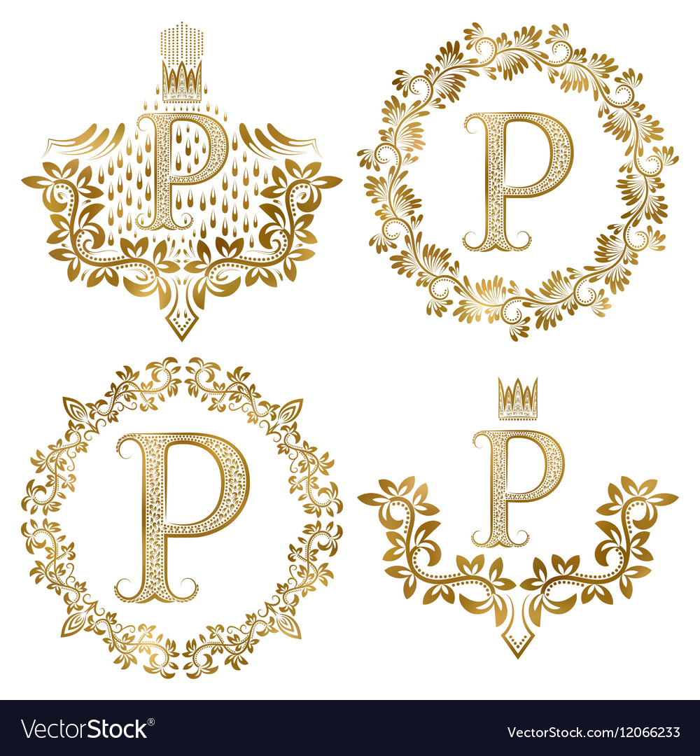 Golden p letter vintage monograms set heraldic vector