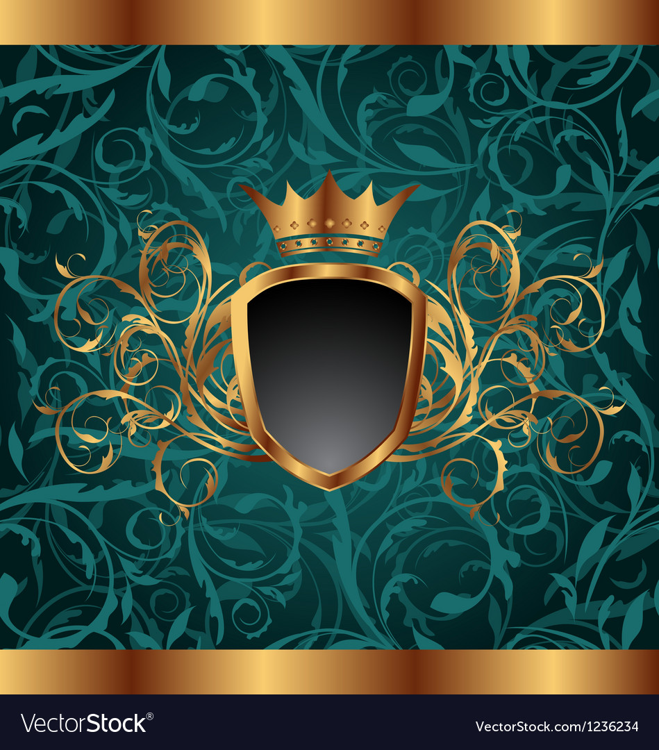 Gold vintage frame with heraldic elements crown vector