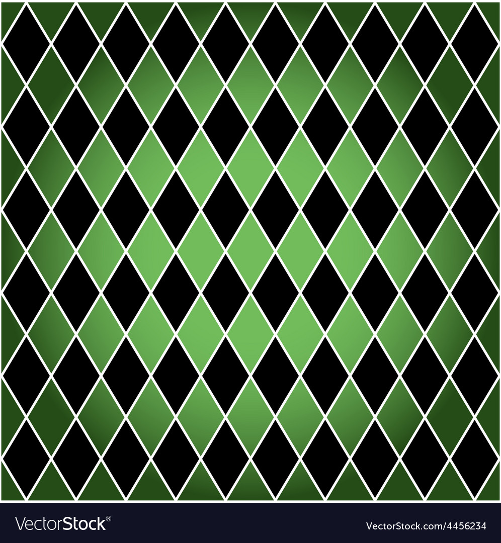 Seamless harlequin patterngreen and black vector