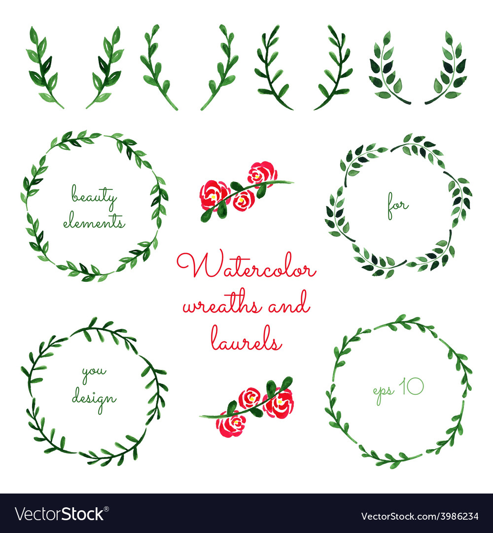 Set of watercolor wreaths and laurels vector