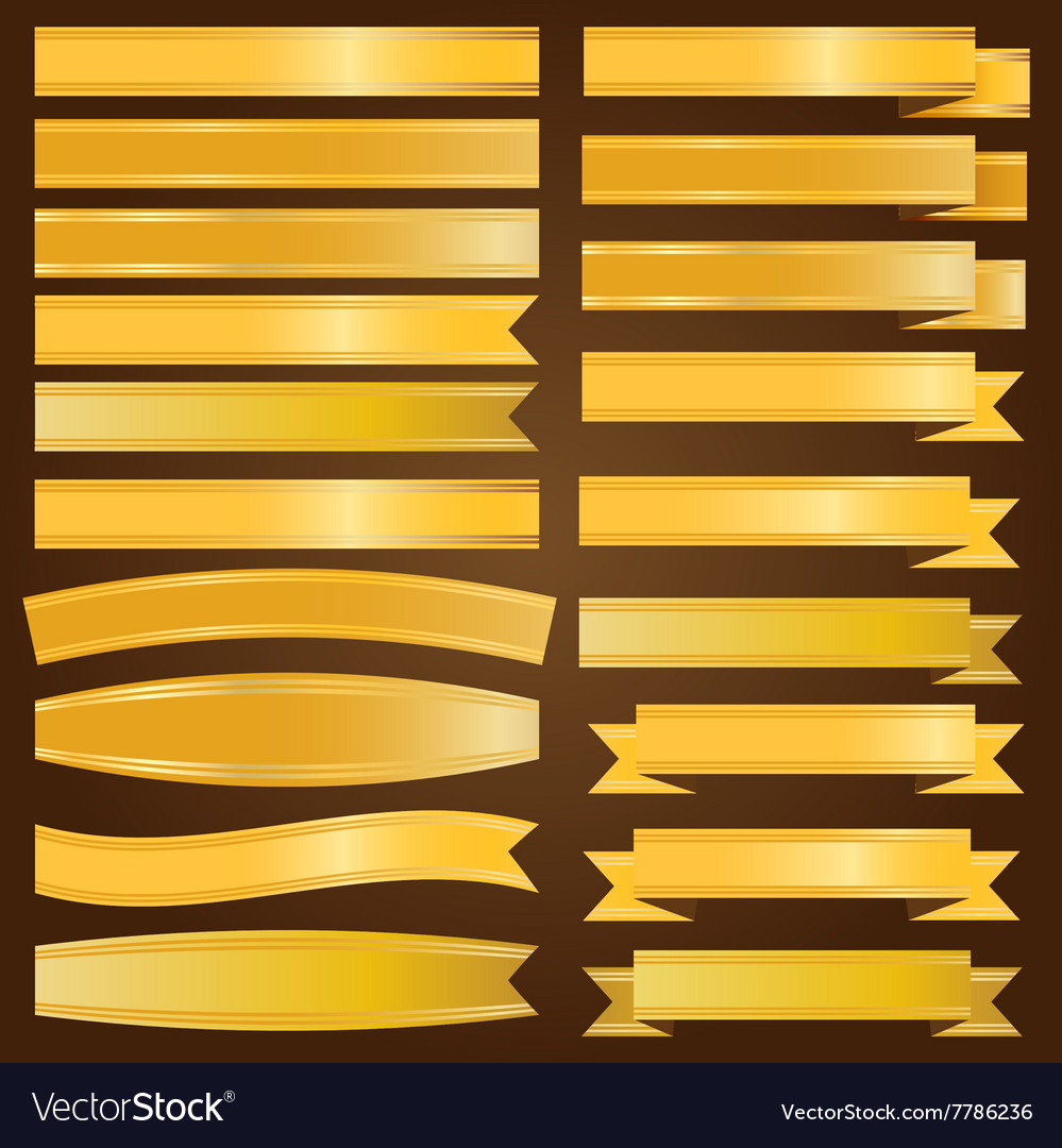 Gold ribbon and banner vector