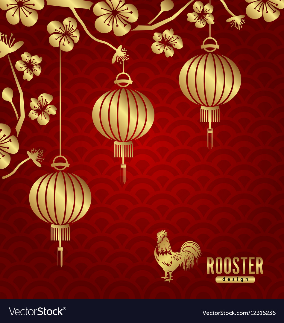 Oriental card for chinese new year 2017 vector