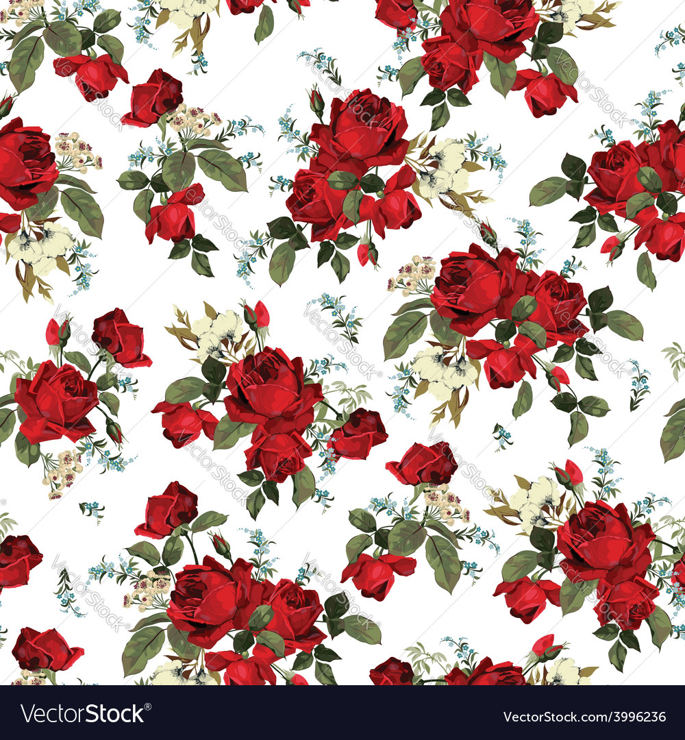 Seamless floral pattern with red roses on white vector