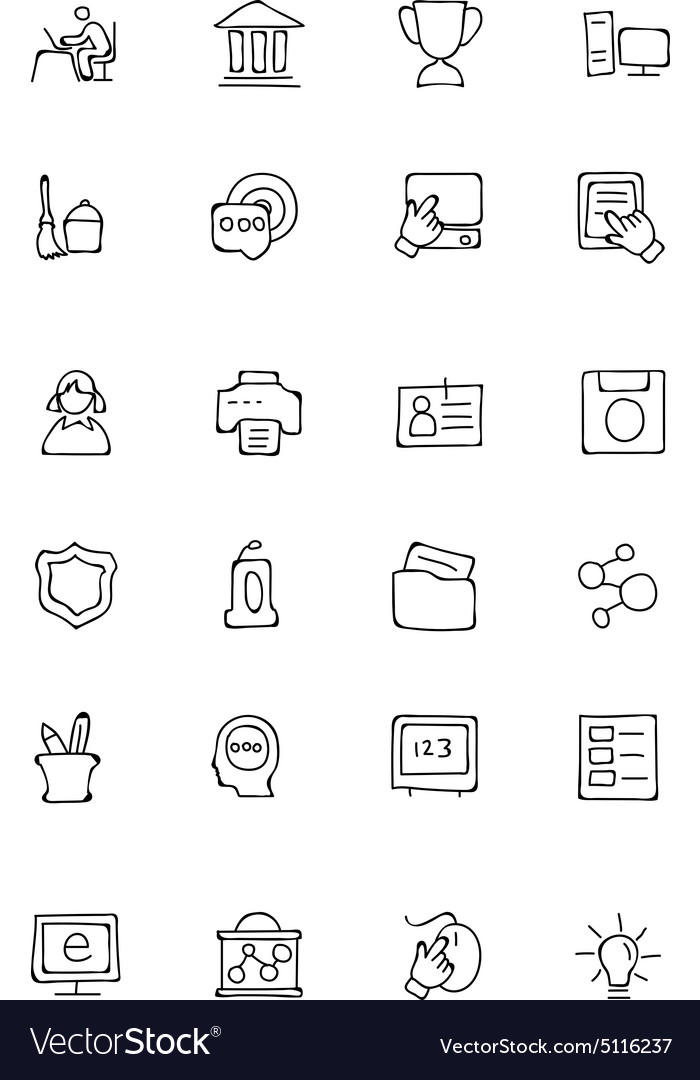 Education hand drawn doodle icons 4 vector