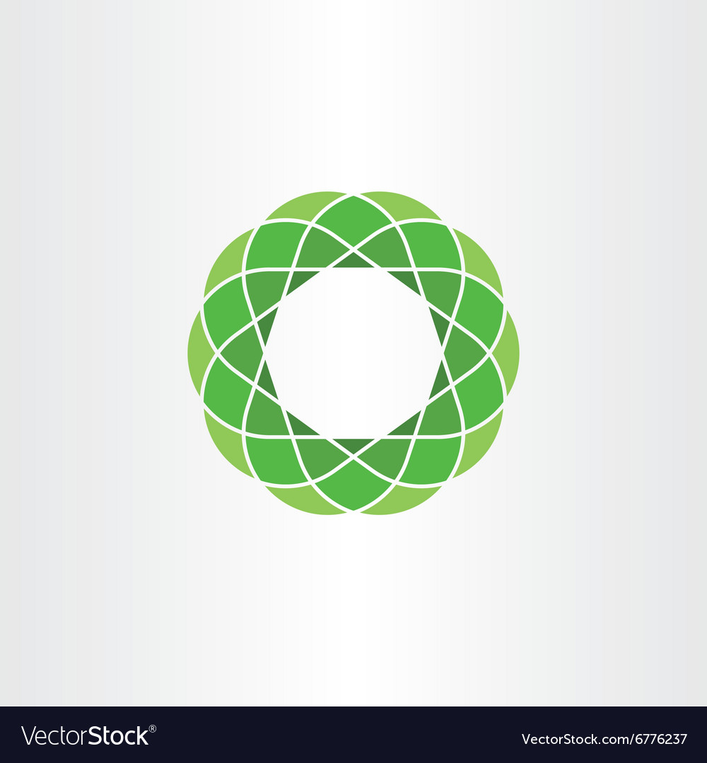 Green polygon circle icon abstract background vector