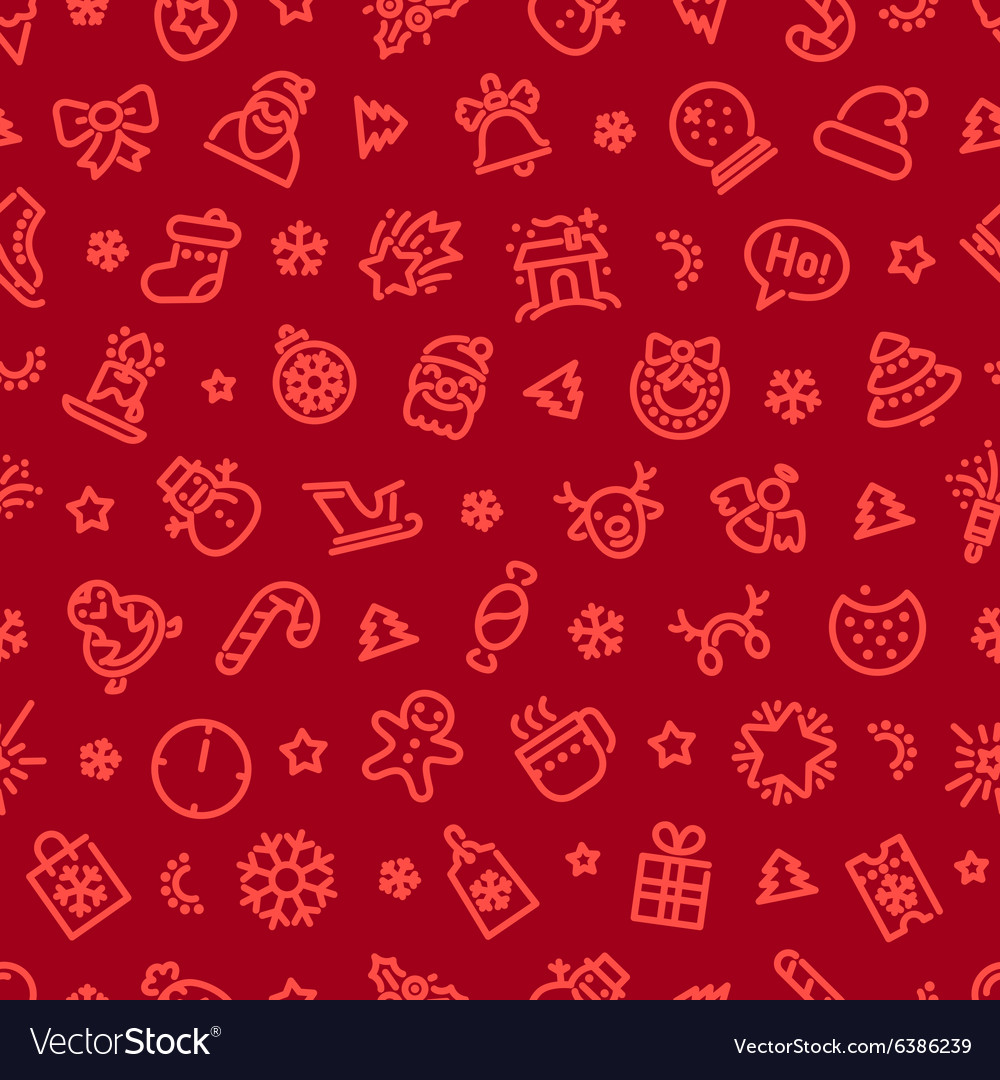 Christmas symbols seamless pattern red vector