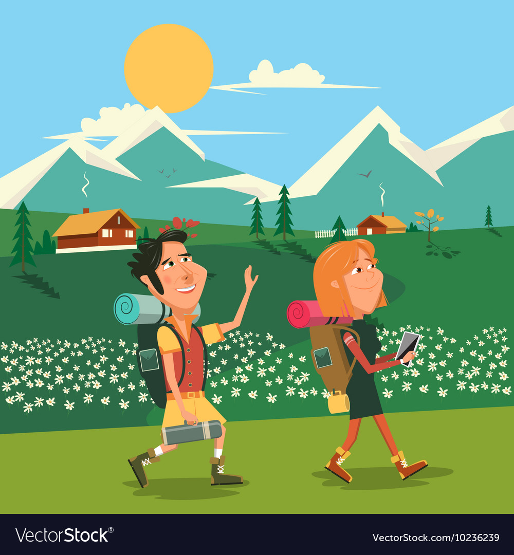 Family hike cartoon colorful vector