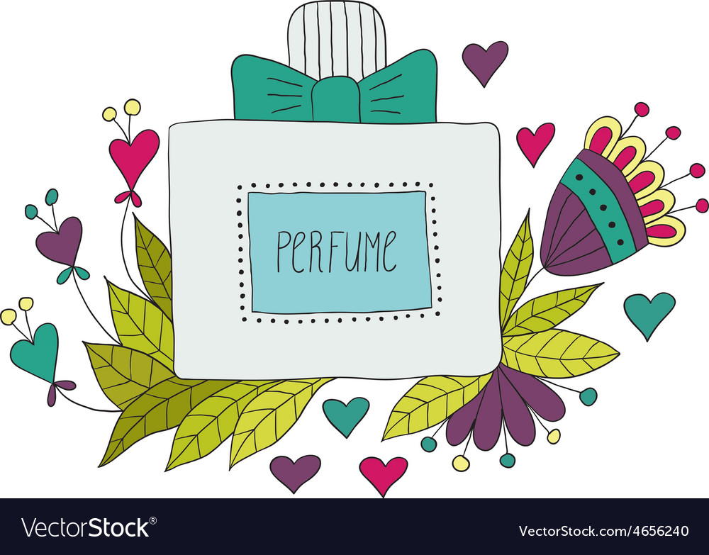 Perfume bottle with flower patterns vector