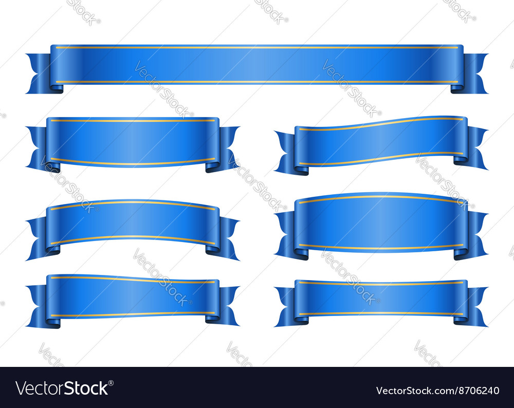 Ribbon blue banners set 1a vector