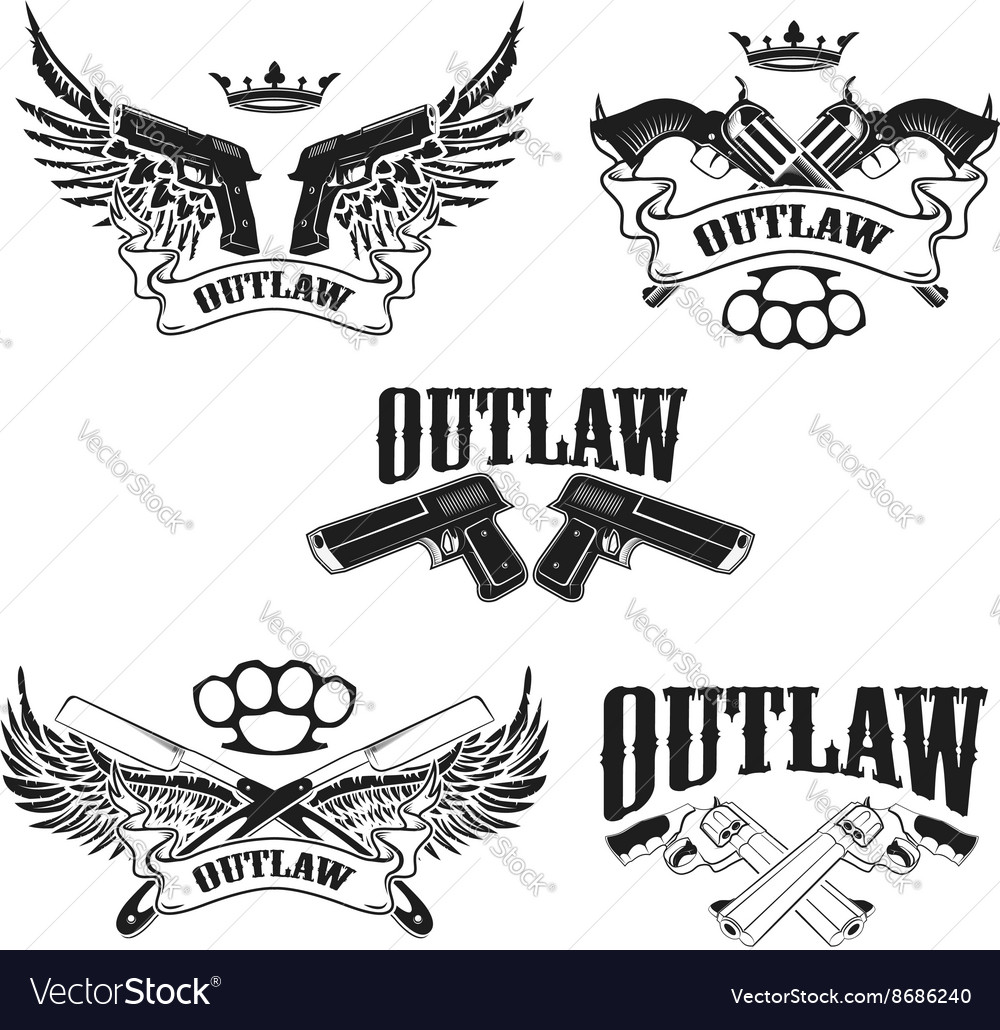 Set of outlaw tshirt print design templates vector