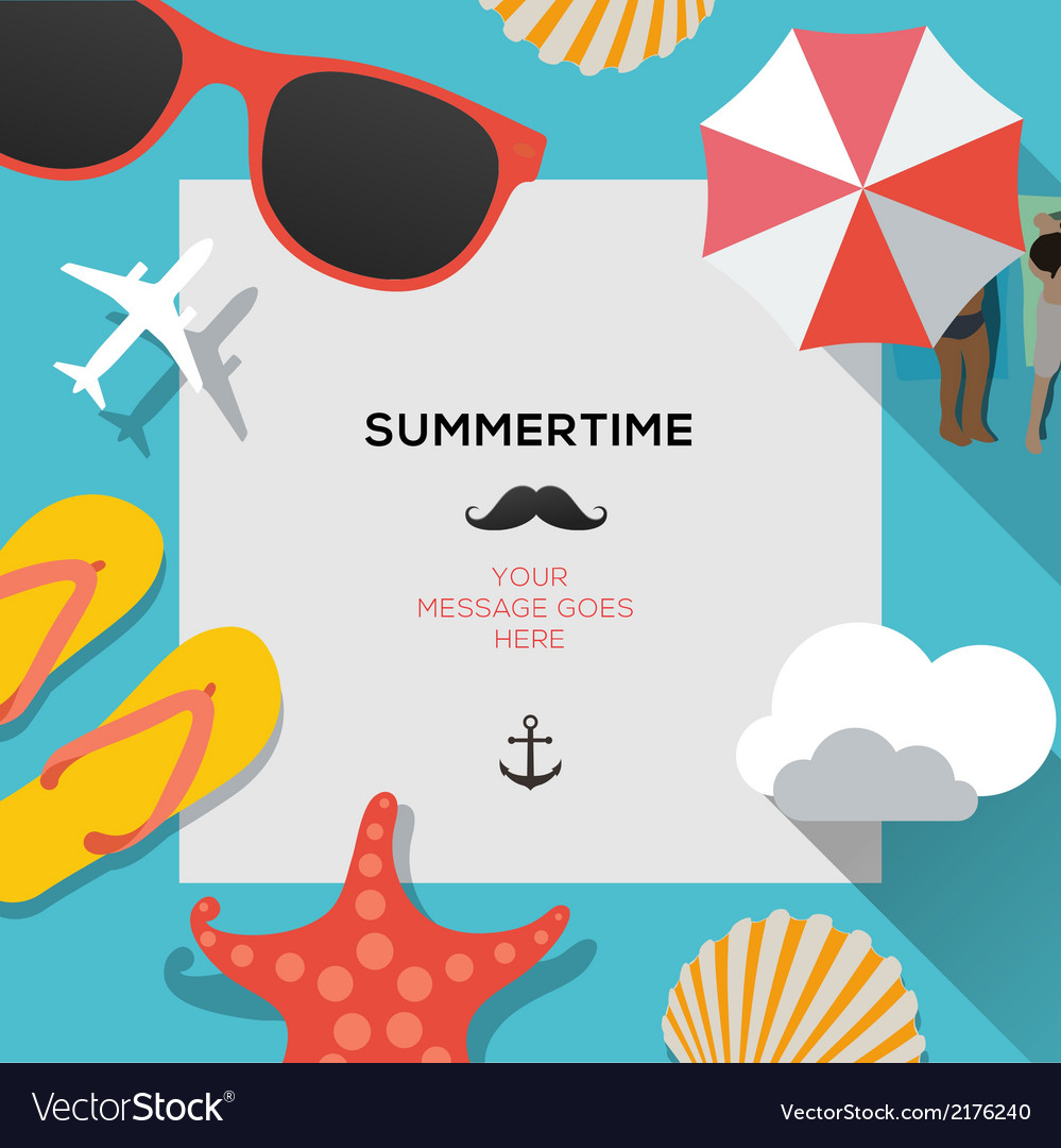 Summertime traveling template with beach summer vector