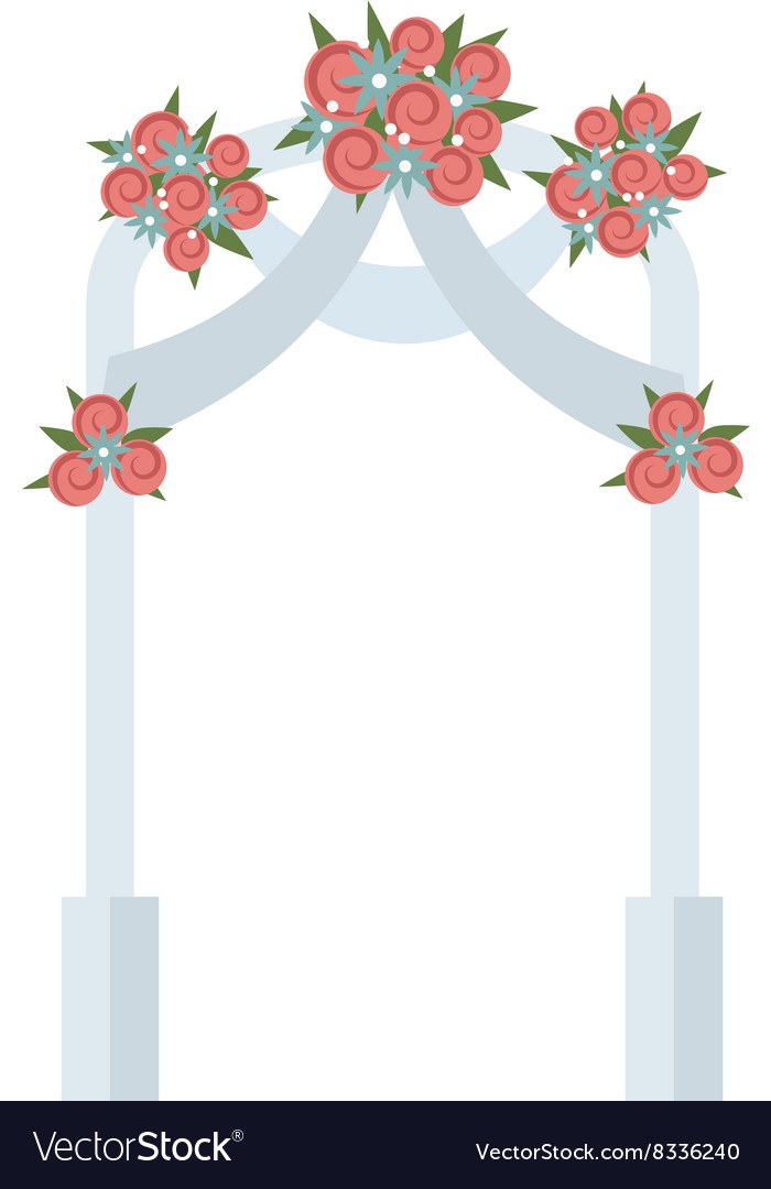 Wedding arch with pink roses vector