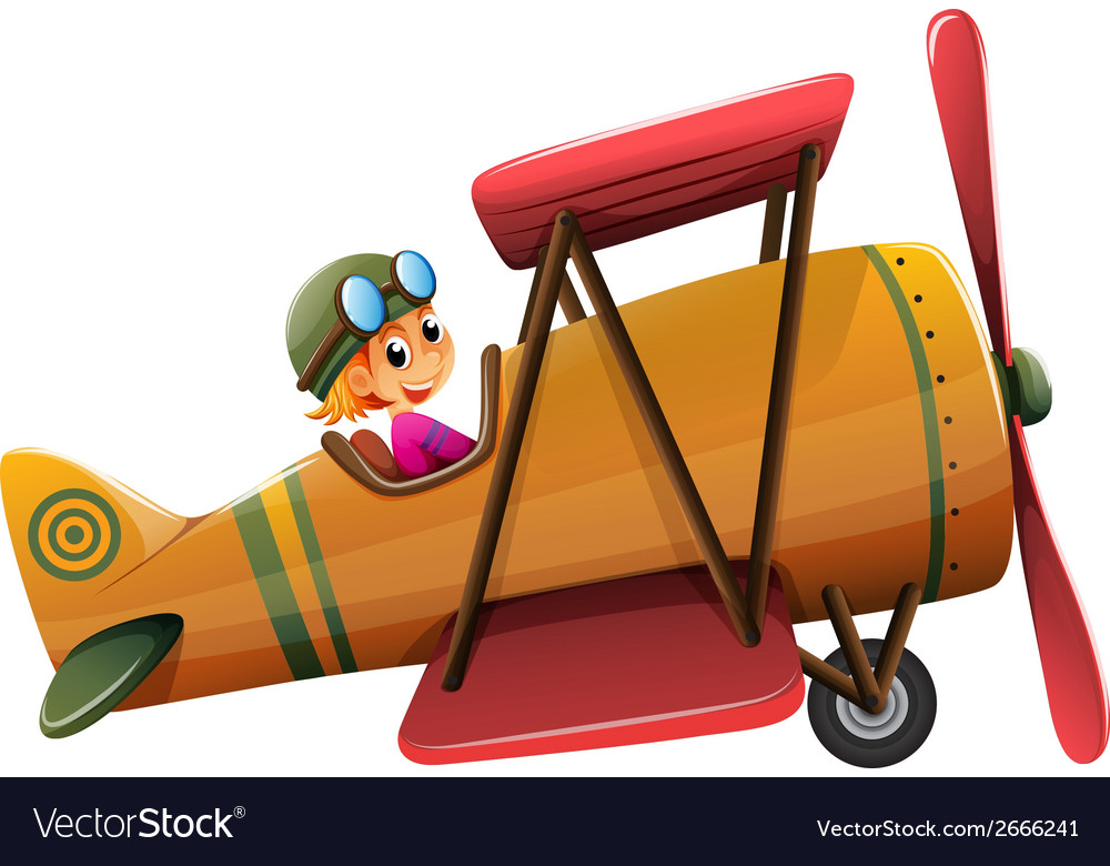A smiling pilot on a vintage plane vector