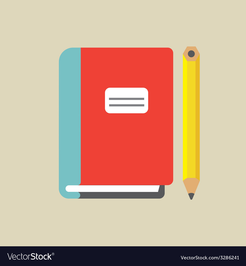 Notebook and pencil colored vector