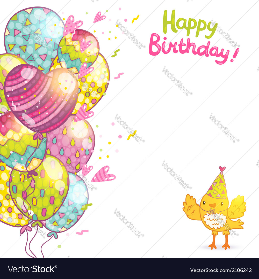 Happy birthday background with bird and balloons vector