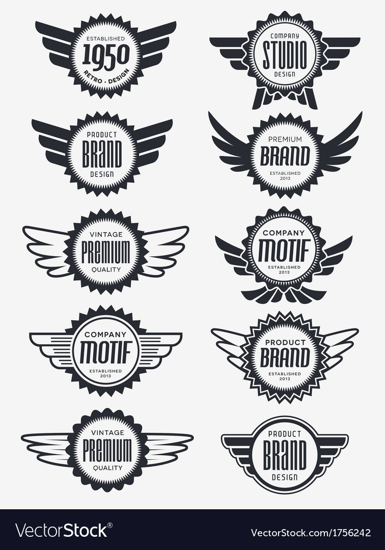 Retro logo badge collection vector