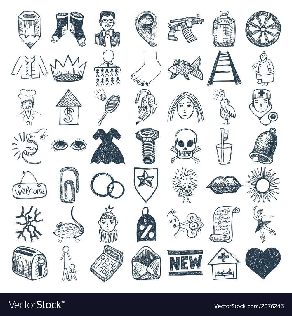 49 hand drawing doodle icon set vector