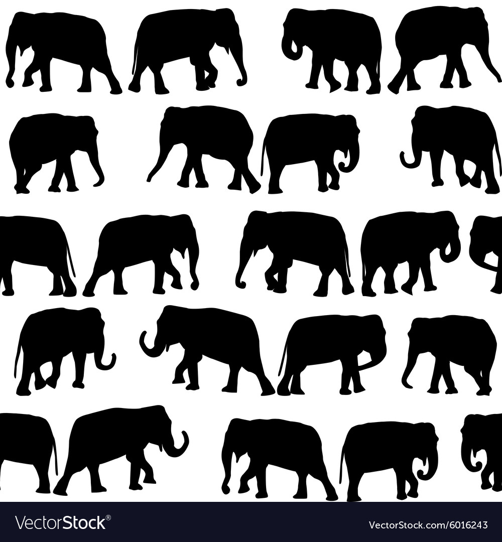Black elephants seamless pattern vector