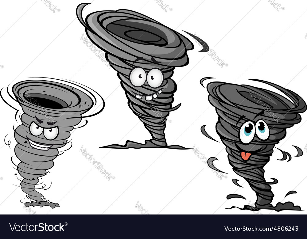 Cartoon hurricane tornado and typhoon characters vector