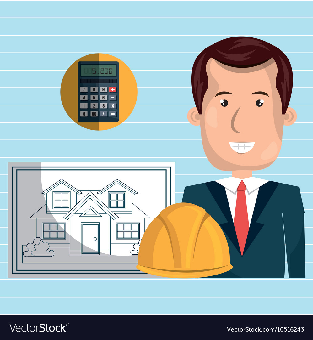 Man architect tools vector