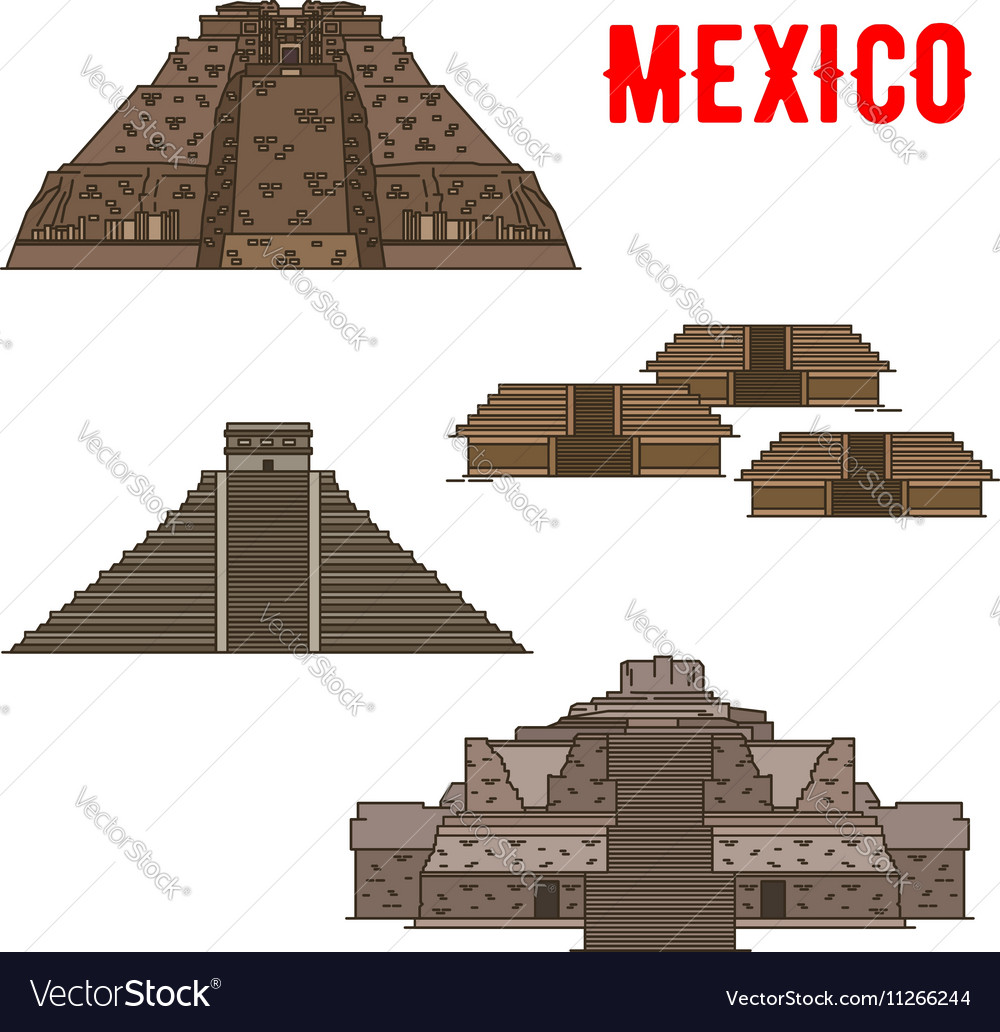 Mexican cultural ancient landmarks icons vector