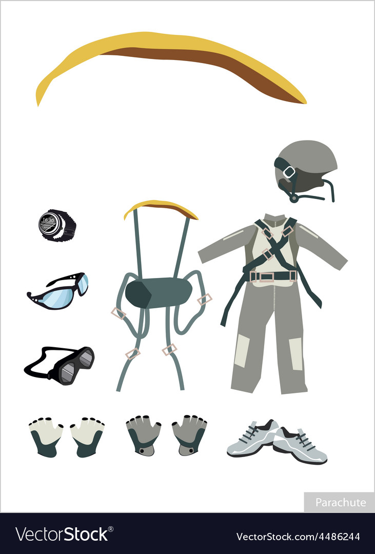 Set of parachute equipment on white background vector