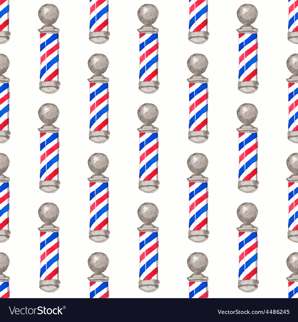 Barber pole seamless watercolor pattern with vector