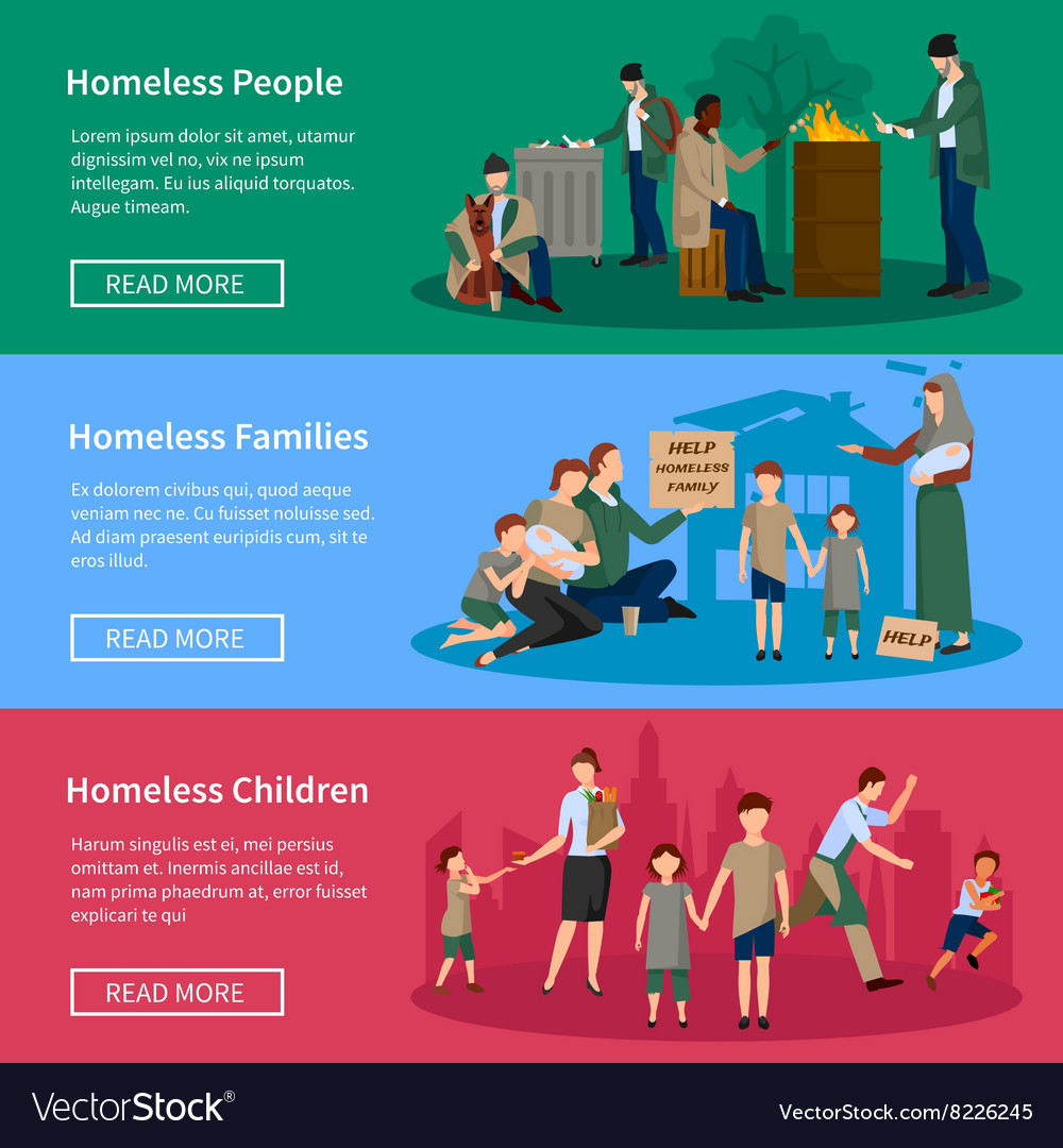 Homeless people banner set vector