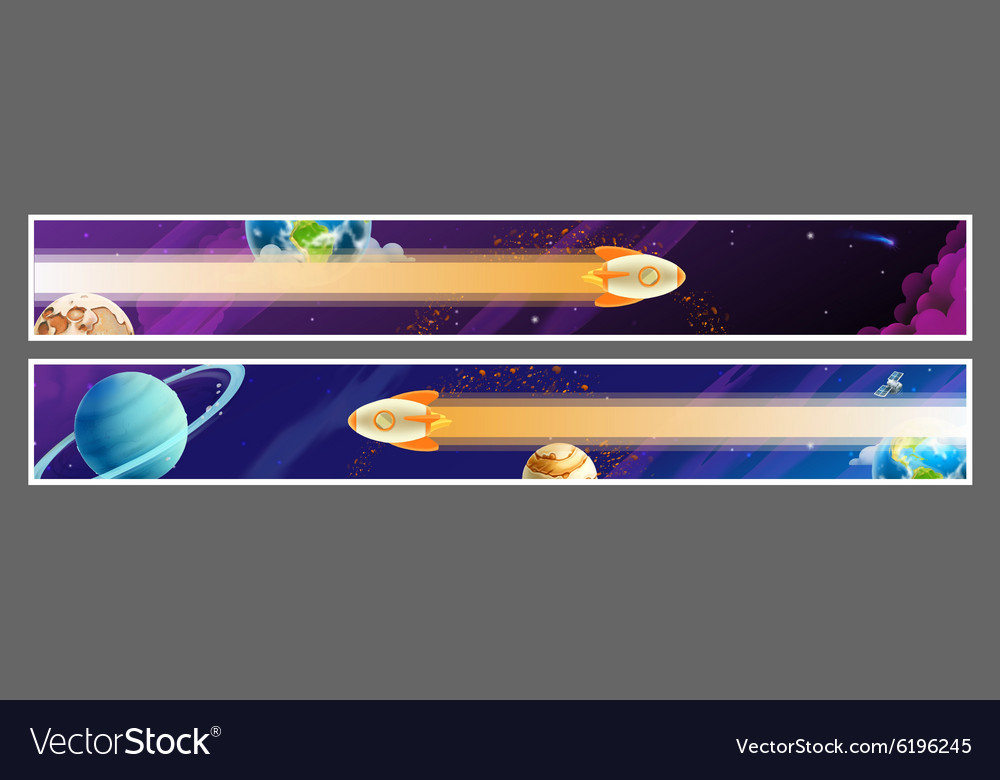Set of space banners design vector