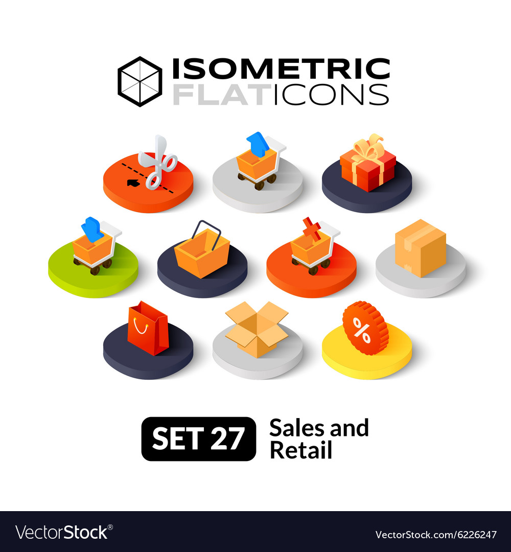 Isometric flat icons set 27 vector