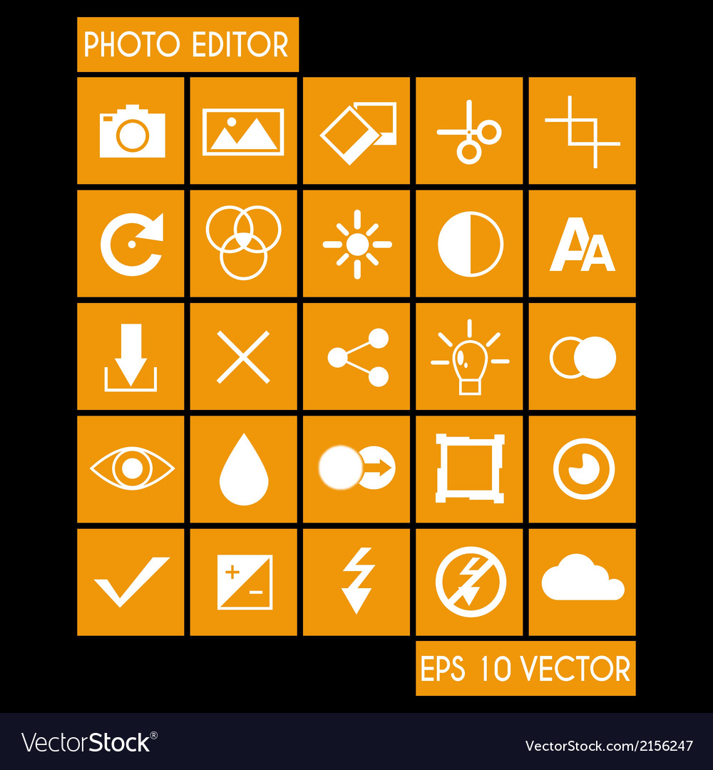 Photo editor icon set vector