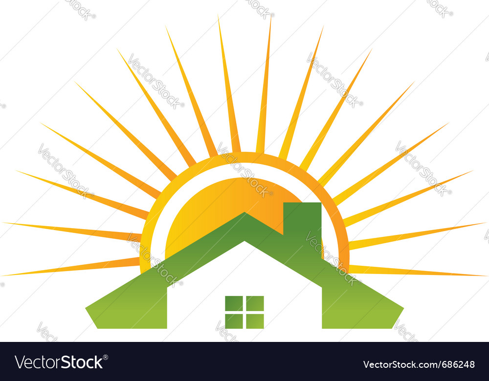 House and shiny sun vector