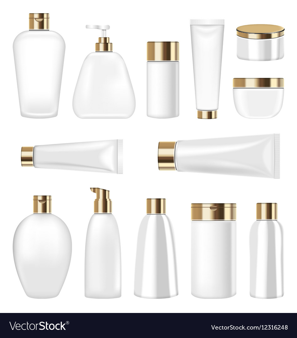 Set cosmetic plastic bottle and tube isolated on vector