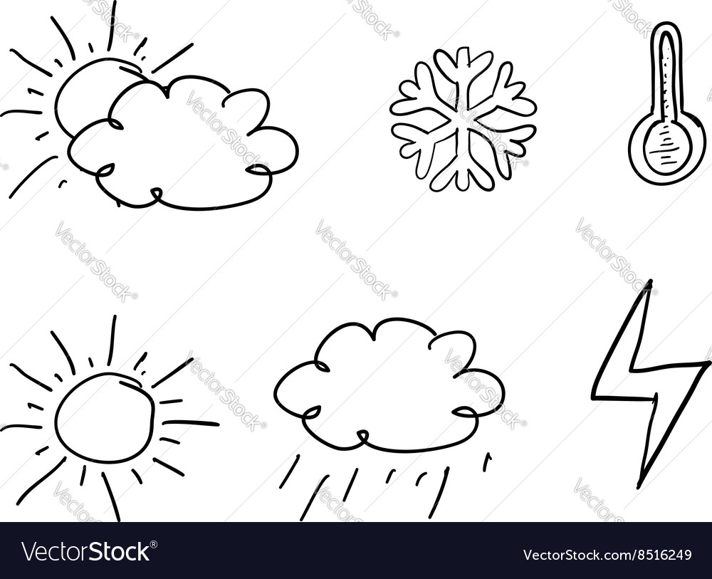 Drawn weather icons vector