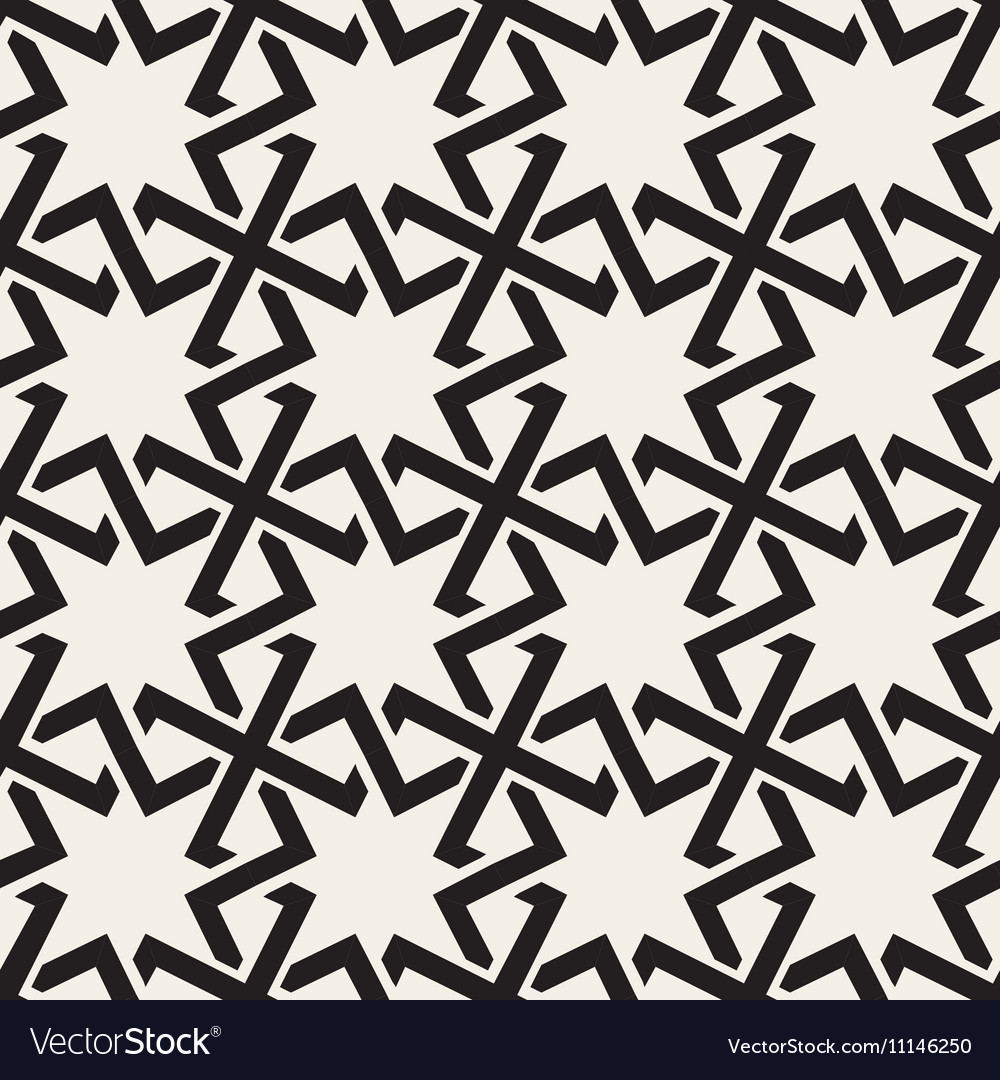 Seamless black white geometric islamic star vector