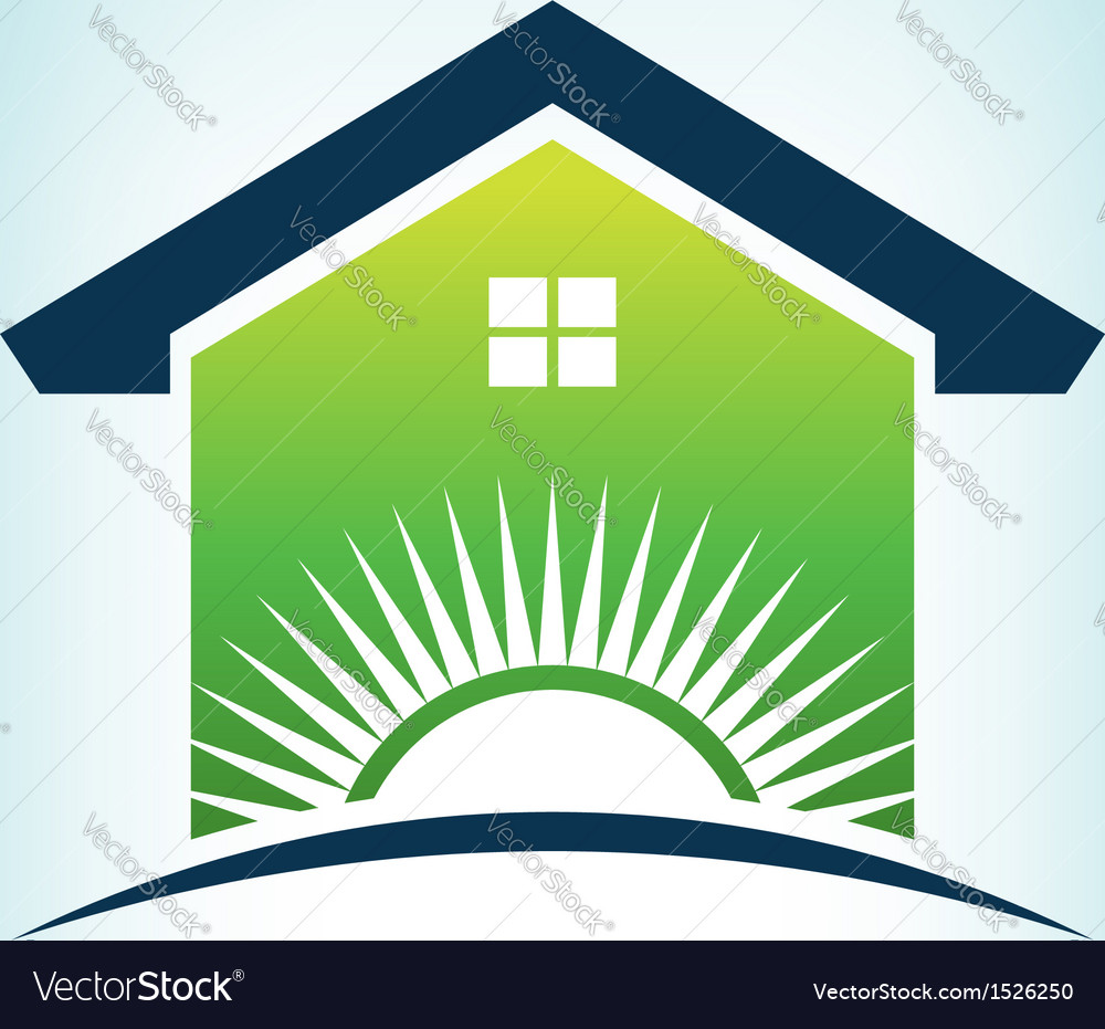Solar house logo vector